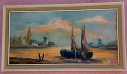 Halászbárkák pirkadatkor, a nyugalom kikötőjében. Realista modern Holland tájkép.