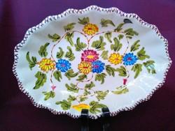 Régi, kézzel festett Franceschini Pesaro, virágos, ovális alakú majolika tál.