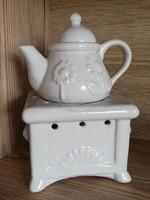 Vadonatúj porcelán kis tűzhely-teáskanna párologtató