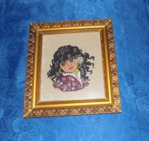 """Antik goblein gobelin """"Cigány lány"""" kép üvegezett képkeretben 35*39 cm"""