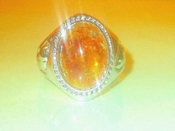 Borostyán köves díszes Gyűrű 17-es