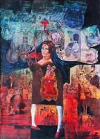 Rádóczy Gyarmathy Gábor - A vak hegedűslány 122 x 87 cm olaj, vászon