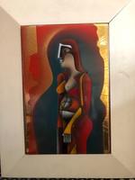Fabók Gyula: Alakos kompozíció tűzzománc kép
