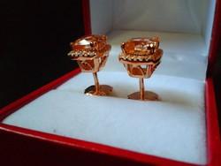 3.40ct Morganit és gyémánt aranyozott ezüst