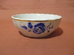 Ritka kis méretű Kispesti gránit tál kék rózsával