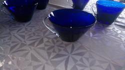 5 db retro kék üveg csésze