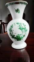 Hibátlan zöld Indiaikosár mintás Herendi porcelán váza