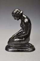 Antik art deco akt,  Fekete Bidtel mázas, jelzett, 21cm