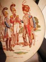 Francia tányér falitál Sarreguemines kerámia katonai huszáros jelenetes.