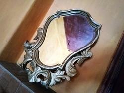 Aranyozott barokk tükör, eredeti metszett üvegével! XIX. század