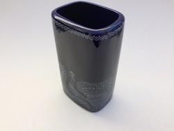 Retro Hollóházi kobaltkék páva mintás váza 20,5cm