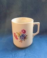 Régi Zsolnay porcelán virágmintás bögre (14/d)