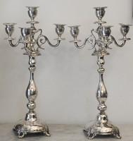 Antik Ezüst ( 750  finomságú ) gyertyatartók párban, jelzett. 1605 g
