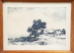 Görög Rezső - Tanya 26 x 40 cm rézkarc