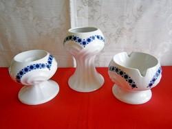 Echt Weimar Kobalt Art Deco porcelán készlet: váza, gyertyatartó, hamutál-hamu tartó