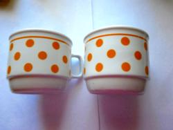 Zsolnay ritka, narancssárga  pöttyös csésze pár 2.