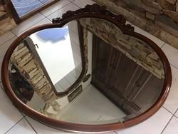 Álomszép hatalmas faragott barokk tükör fazellált széllel különleges formával
