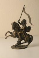 Bronz lovas szobor, inas csengő dísz, asztali dísz