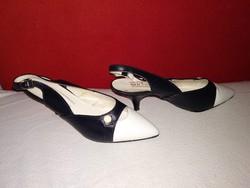 1950-es 60-as évek stílusában készült vintage bőrcipő, nyári női bőr cipő