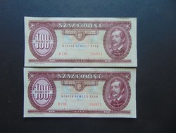 2 darab 100 forint 1992 Sorszámkövető szép bankjegyek !