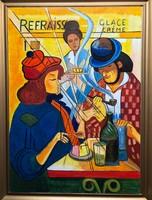 Remsey Jenő György: Kávéházban című Olajfestmény