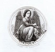 Artner Margit - Anziksz (Fanfár) 7.5 cm átmérőjű rézkarc