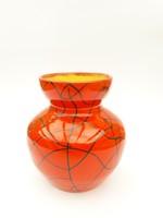 Tófej váza fekete mintával és csillogó mázzal - retro iparművész kerámia váza