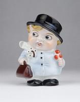 0Y014 Régi kalapos kisgyerek porcelán sószóró 9 cm