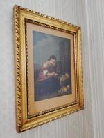 XIX századi festmény reprodukció nyomat hibátlan eredeti aranyszínű keretben
