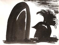 Borsos Miklós - 22 x 28 cm lavírozott tus, papír
