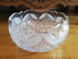 Álomszép öblös gazdagon díszített csiszolt ólomkristály tál kínáló vitrin állapotú