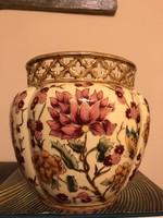 Zsolnay régi nagyméretű áttört szélű díszkaspó ritka dekorral-kiváló állapotban!