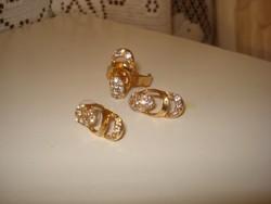 Divat ékszer arany színü  ékszer szett mesés elegáns fehér színű strasz kövekkel
