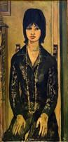 """Kiss Attila ( 1941- ) """" Fiatal lány, gyöngysorral...."""""""