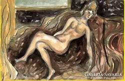 Lehoczky József:  Női akt - tusrajz, akvarellel színezve, papíron  /17,5 x 25 cm/ Keret nélkül  Átvé