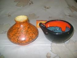 Retro TÓFEJ kerámia váza és jelzetlen kerámia tál, asztalközép