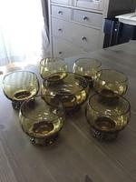 Régi finn Penti Sarpaneva bronz díszítésű üveg pohárkészlet