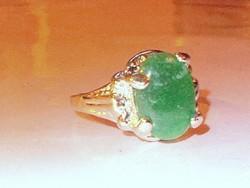 Jade köves töltött Fehérarany GF. Gyűrű 9-11 méretig