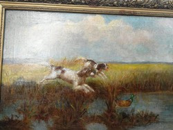 Festmény vadász kutyákkal jelzett