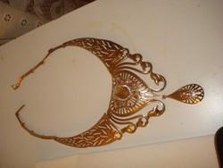 Diszkóban előnyös csillogó MERÉSZ  divat ékszer szett aranyozott nyaklánc, karkötő karperec gyűrű