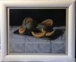 Sárgadinnyék - jezett, mesés pasztell, gyönyörű keretben ( 48.5 x 59 )