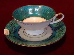 ALKA Bavaria német porcelán. Antik teáscsésze + alátét. Zöld szegéllyel, aranyozott széllel.