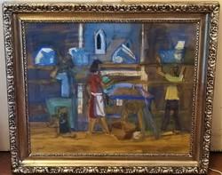 Gerő András (1936 - ) Építők c festménye 72x62cm EREDETI GARANCIÁVAL !!!