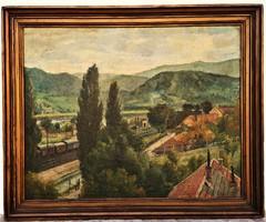 113x93 cm !! Monostori Moller Pál (1894 - 1978) Nagymaros 1951 c olajfestménye EREDETI GARANCIÁVAL