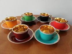 Art deco gazdag aranyozású színes hollóházi porcelás kávés készlet vitrin állapotú