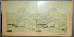 Sztereofotó konstantinápolyi kikötőről és mecsetről, 1898.