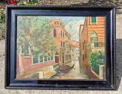 Velencei gondolás, olajfestmény, vásznon, 1932-es szignós