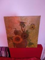 Gyönyörű olajfestmény napraforgók vázában virágcsendélet