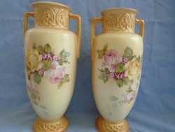 Majolika empir váza pár art nouveau 26 cm magasak jelzetek és sorszámozottak ....