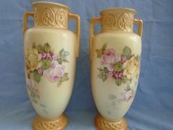 Majolika szecessziós  váza pár art nouveau 26 cm magasak jelzetek és sorszámozottak ....